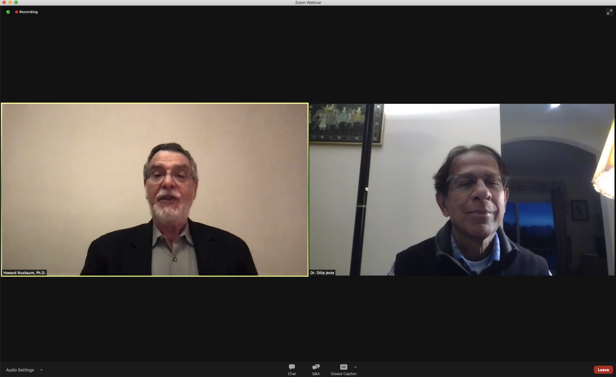 Screenshot of Howard and Dilip Jeste discuss wisdom in Zoom call